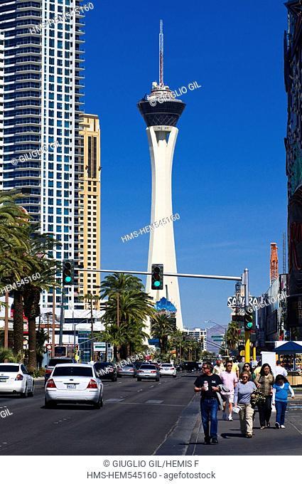 United Statess, Nevada, Las Vegas, Stratospher tower casino hotel on Strip Boulevard