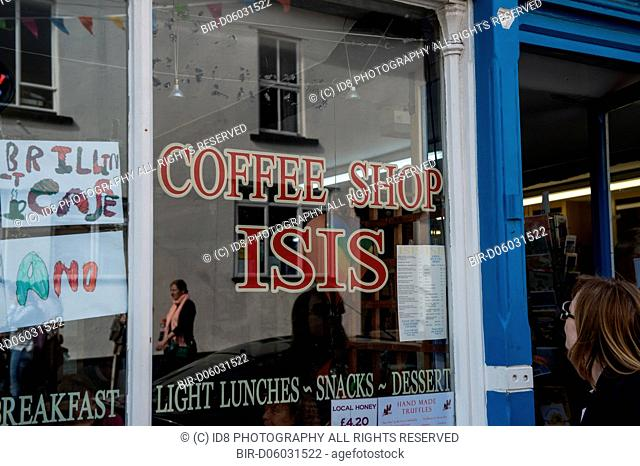 Isis Cafe sign during the Howthelightgetsin Festival, Hay on Wye, Hereford, 2015