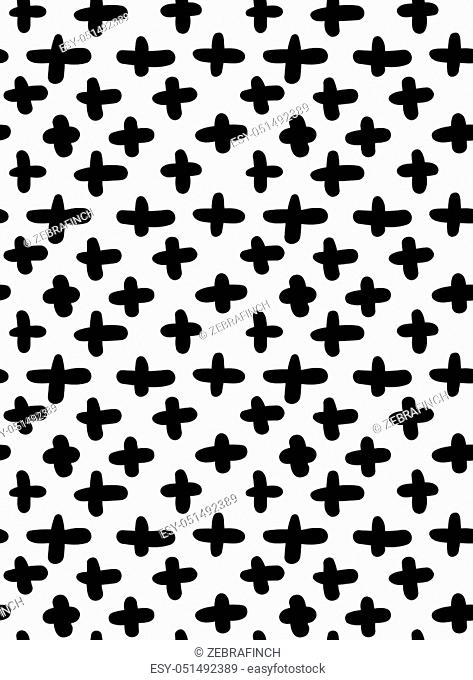 Black marker drawn simple crosses. Hand drawn with paint brush seamless background. Abstract texture. Modern irregular tilable design