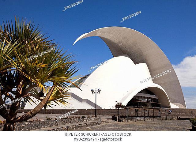 The modern concert hall Auditorio de Tenerife by architect Santiago Calatrava Valls in Santa Cruz de Tenerife, Tenerife, Canary Islands, Spain, Europe
