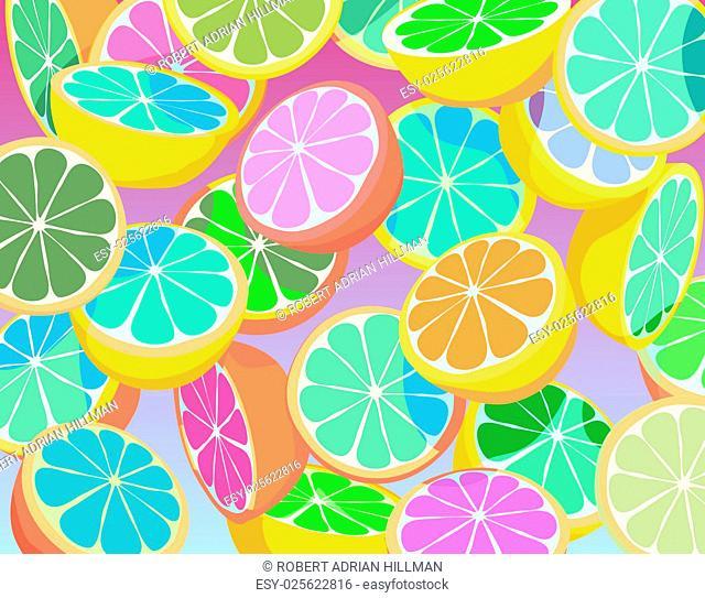Editable vector colorful illustration of falling sliced citrus fruit