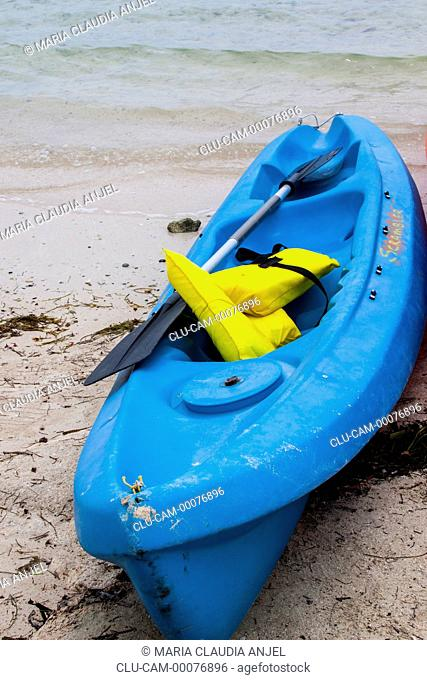 Kayak on the Beach, San Andres Island, Archipelago of San Andres, Providencia and Santa Catalina, Colombia