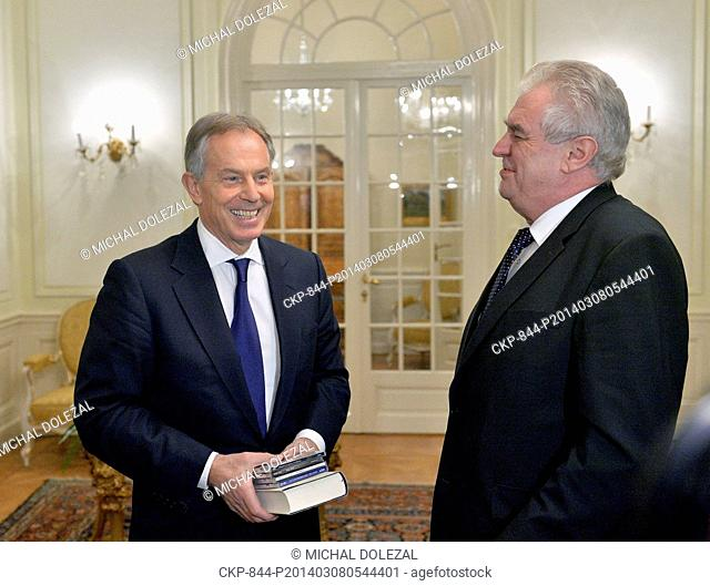 Czech President Milos Zeman, right, and former British Prime Minister Tony Blair are seen prior to their meeting at the Lany Castle near Prague, on Saturday