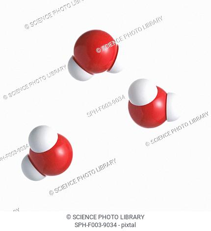 Water molecules. Atoms are represented as spheres and are colour-coded: oxygen red and hydrogen white