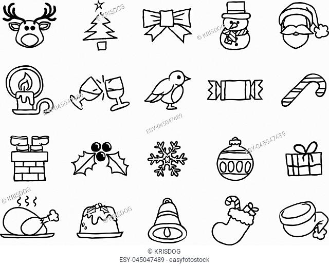 Christmas icon set including Santa, snow flake, reindeer, gift, snowman and lots more in a painted watercolor ink rough grungy hand drawn style