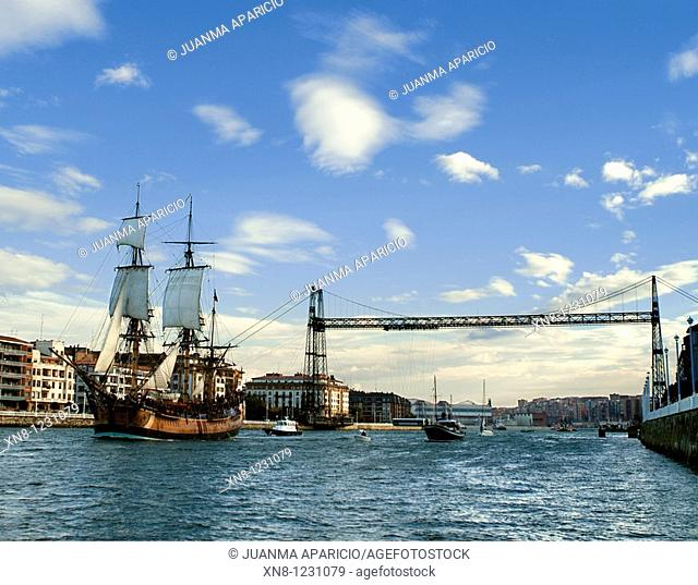 Replica of the ship Endeavour was launched on December 9, 1993, used for the filming of the movie Master and Commander, as it passes through the town of...