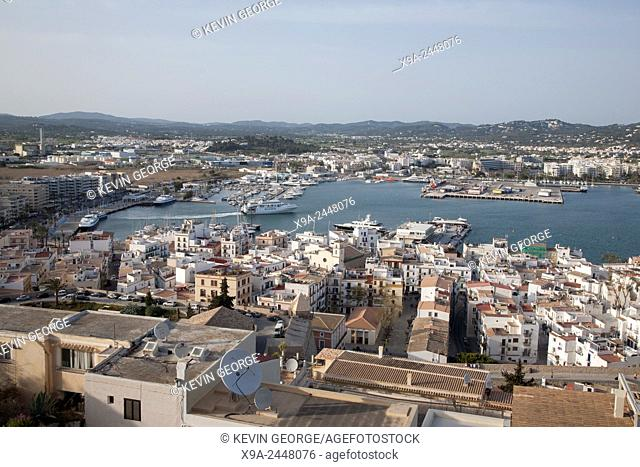 View of Ibiza Harbor, Balearic Islands, Spain
