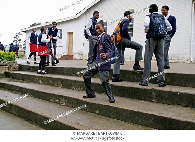 School children on stairway, St Mark's School, Mbabane, Hhohho, Kingdom of Swaziland