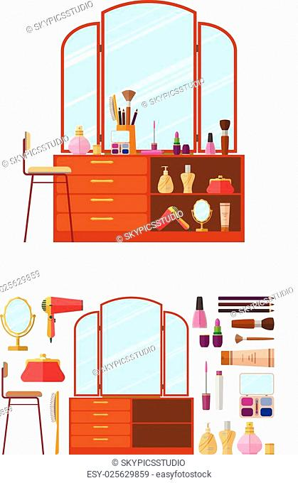 Room interior with dressing table. Woman cosmetics objects in flat style vector illustration. Furniture for female boudoir