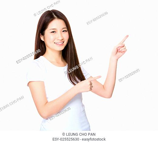 Young woman showing two finger upwards