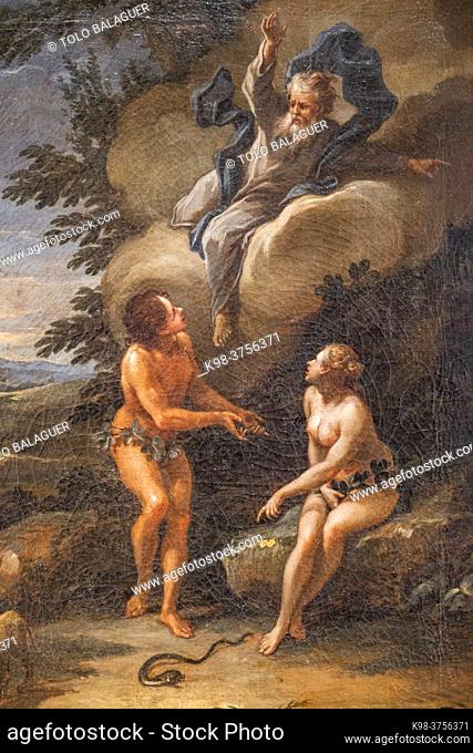 expulsion from paradise, 1745, oil on canvas, Guillem Mesquida, Can Puig, Palma, Mallorca, Balearic Islands, Spain
