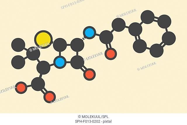 Penicillin G (benzylpenicillin) antibiotic drug molecule. Used to treat bacterial infections; belongs to beta-lactam class