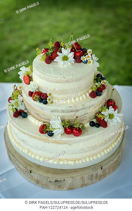 Symbolic photo on the subject of wedding and marriages. A pretty wedding cake is waiting to be eaten. | usage worldwide. - /Deutschland