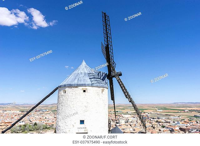 Travel, windmills of Consuegra in Toledo, Spain. They served to grind grain crop fields
