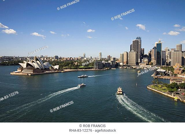 Circular Quay, the important Sydney Ferries terminus and rail stop for the CBD and tourist centre between the Opera House and Harbour Bridge, Sydney