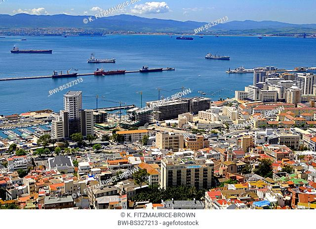 oil tankers in the bar of Gibraltar, spanish mainland in background, Gibraltar, Gibraltar