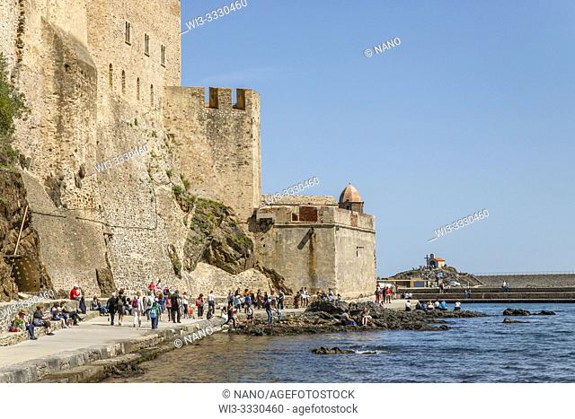France, Pyrenees Orientales, Cote Vermeille, Collioure, defensive wall of the Royal Castle