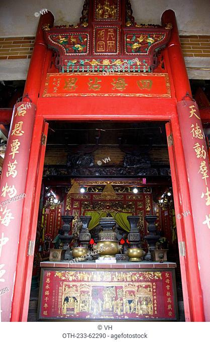 Shrine of goddess Tin Hau at Tin Hau Temple on High Island, off Sai Kung, Hong Kong