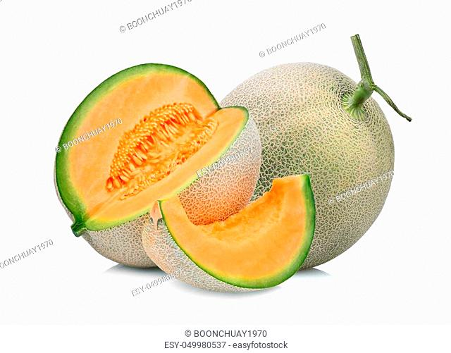 whole and slice of japanese melons, green melon or cantaloupe melon isolated on white background