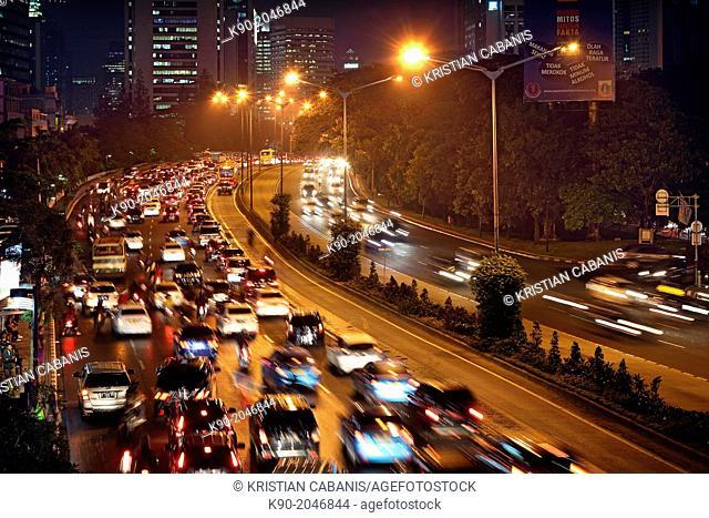 Traffic at night, Jakarta, Java, Indonesia, Southeast Asia