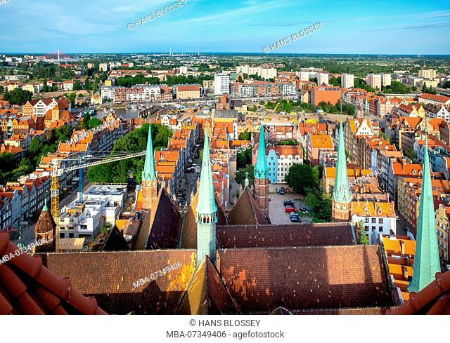 Gdansk, view from St. Mary's Church, Old Town of Gdansk, Danzig, Pomorskie, Pomeranian Voivodeship, Poland
