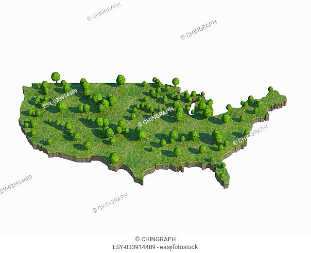 3d render of USA map section cut isolated on white with clipping path