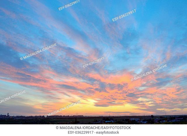 Colorful sky texture at sunset in summer time