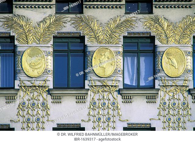 Art Nouveau house, built by O. Wagner, stucco by Kolo Moser, Wienzeile 38, 6. Bezirk 6th district, Vienna, Austria, Europe