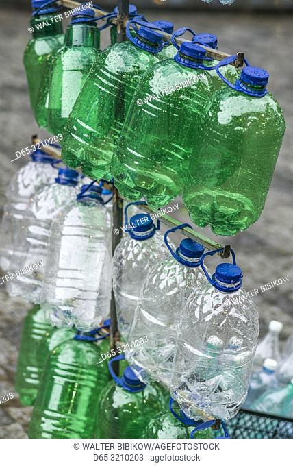 Georgia, Borjomi, famous mineral water resort, plastic water bottles for sale