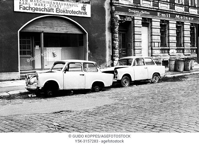 Karl Marx Stadt, East Germany. Abandoned and partly demolished Trabi's, parked alongside a road in the former DDR town of Karl Marx Stadt, now Chemnitz