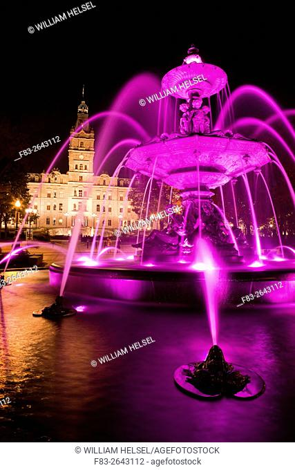 Fountain and Parliament Building, Hotel du Parlement, Quebec City, Quebec, Canada, night
