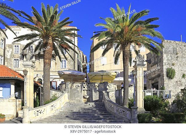 Sea Gate or Primorska Vrata, Korcula Town, Korcula Island, Croatia, Dalmatia, Dalmatian Coast, Europe