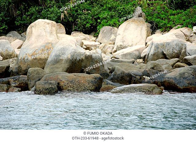 Wave erosion rocks at the coast of High Island, off Sai Kung, Hong Kong