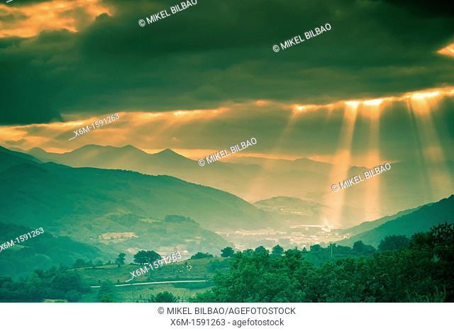 Clouds and sunbeams  Baztan valley, Navarre, Spain
