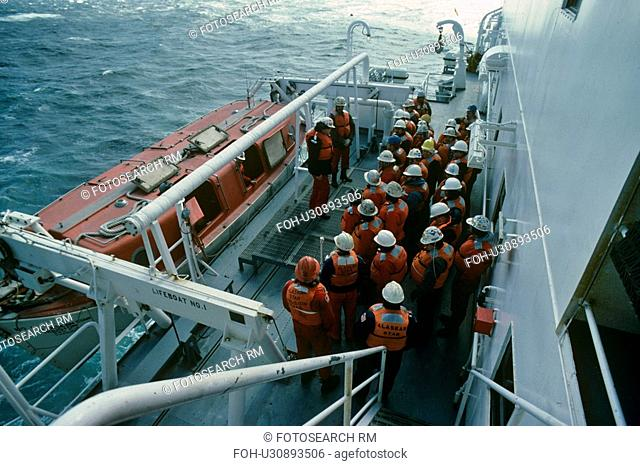 Lifeboat Safety Drill on Offshore Oil Drilling Rig