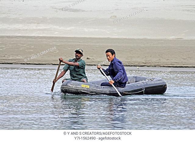 People Crossing Debang River to Enter, Namdapha National Park, Miao, Arunachal Pradesh, India