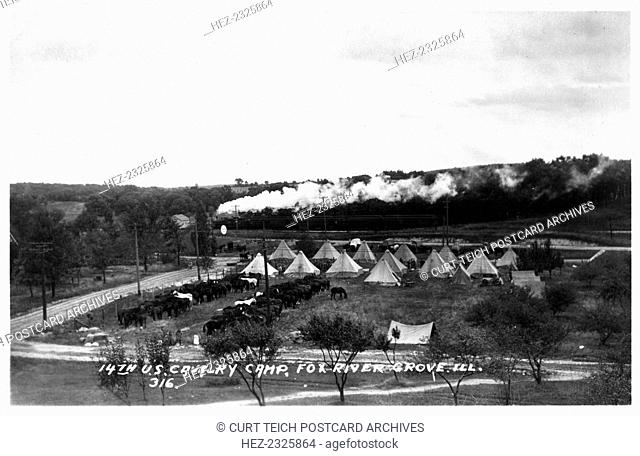 14th US Cavalry camp, Fox River Grove, Illinois, USA, 1920. An encampment of troops from Fort Sheridan, a US Army base on the shores of Lake Michigan just north...