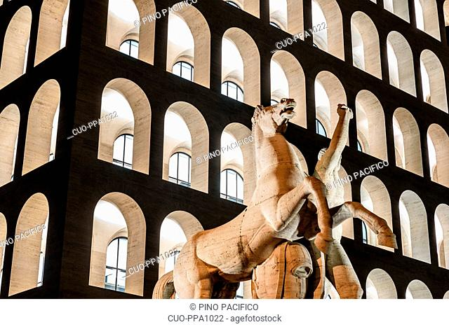 Palazzo della Civilta Italiana palace or square Colosseum at dusk, EUR, Rome, Lazio, Italy, Europe