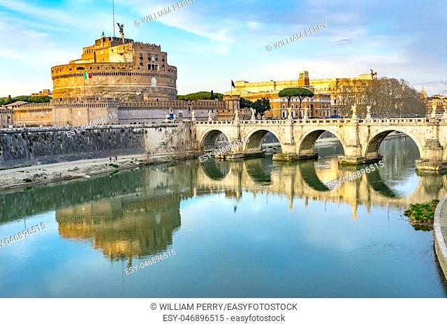 Street Lamp Ponte Bridge Castel Saint Angelo Tiber River Reflection Rome Italy. Bridge first built by Emperor Hadrian in 134AD