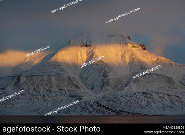 Massif of Adventdalen and at dusk, Spitsbergen, Norway