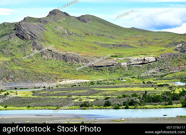 Syncline fold and Paine River. Torres del Paine National Park, Chile