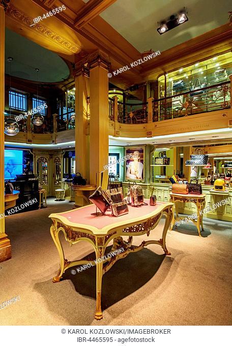 Tous Store, former Ourivesaria Alianca, Rua Garrett 50, shop for luxury handbags, interior view, Chiado, Lisbon, Portugal