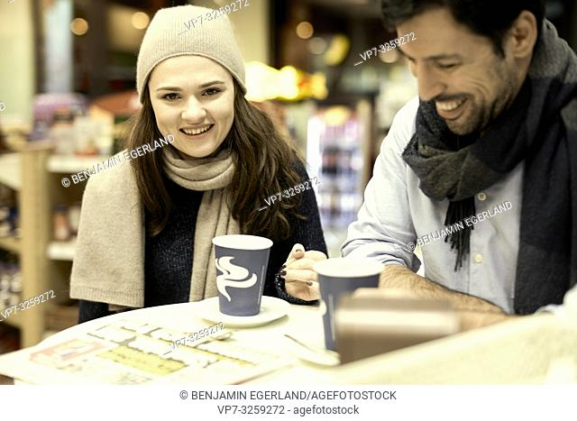 couple, coffee shop, in Munich, Germany