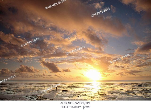 Dawn clouds and sunrise, Indian Ocean, Jambiani, Zanzibar, Tanzania