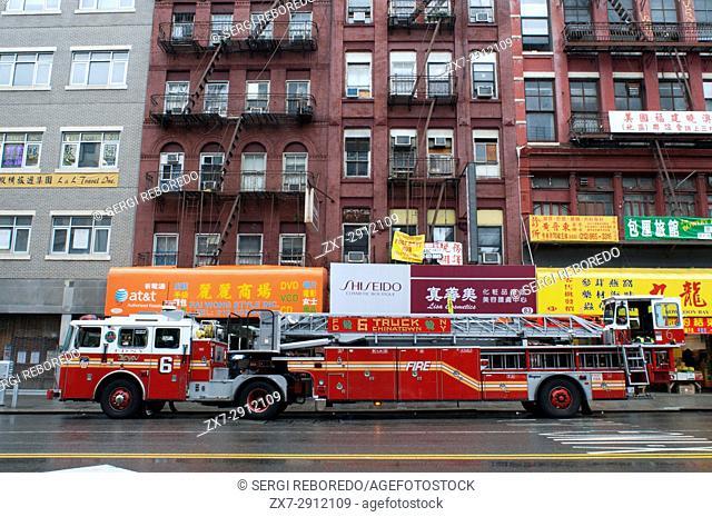 Chinatown Firetruck in Chinatown in Manhattan, New York City, USA