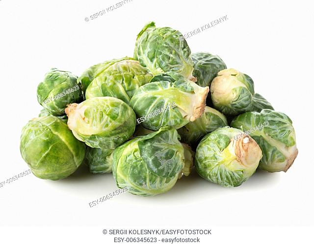 Fresh brussel sprouts isolated on a white background