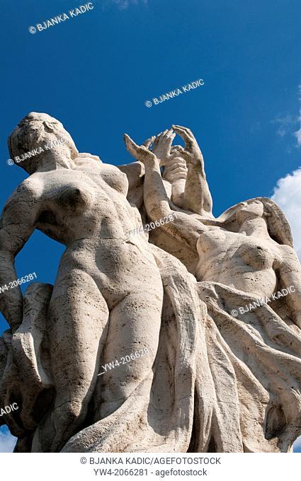 Statues on Bridge Vittorio Emanuele II, Rome, Italy