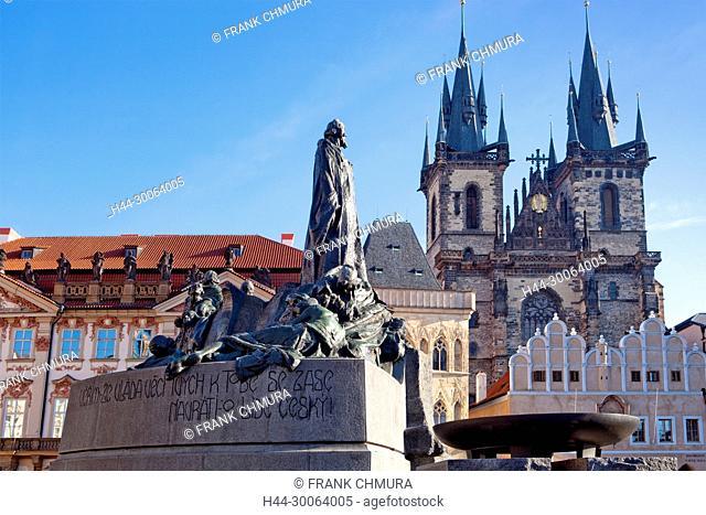 Prague - Tyn Church and Jan Hus Memorial at The Old Town Square