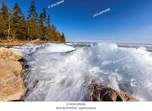 Spring ice formations off the coast of Barrie Island, Manitoulin Island, Ontario