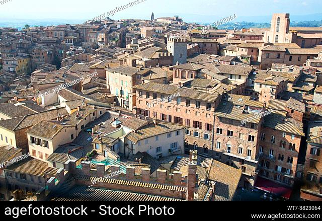 Siena from above, roofs, il Duomo, cathedral , houses, streets,